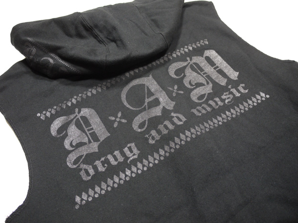 DxAxM パーカー カットオフ スリーブレス ジップパーカー ALL BLACK NO pain No gain 通販