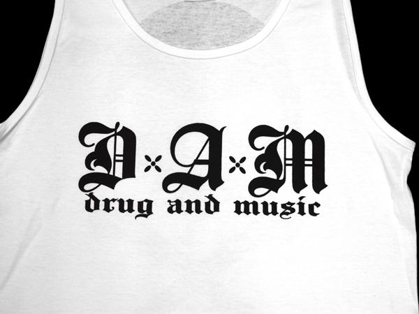 dxaxm タンクトップ drug and music スカル 骸骨 ストリート ブランド ウェア 通販 スケート ロック