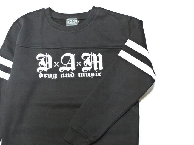 DxAxM drug and music スウェット 長袖 ストリートスタイル スケータースタイル 通販 ブラック