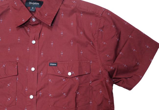 ブリクストン 半袖 シャツ ストライプ brixton WAYNE S/S WOVEN バーガンディ スナップボタン ボタンダウン メンズファッション メンズアパレル 通販