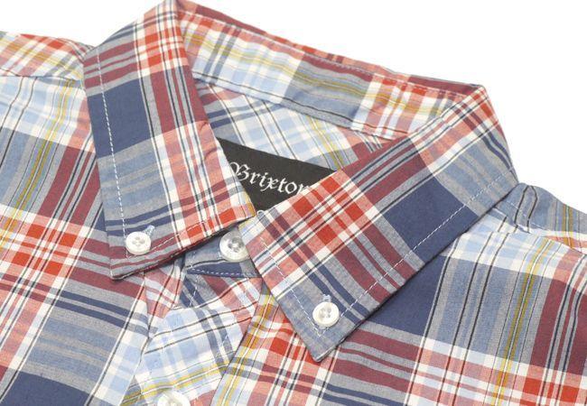 ブリクストン 半袖 シャツ チェック バーバリーチェック brixton HOWL ネイビー NAVY PLAID メンズファッション メンズアパレル 通販