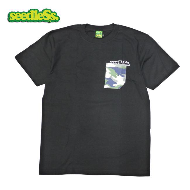 seedless  シードレス ポケティー ポケット Tシャツ como pocket 黒 通販