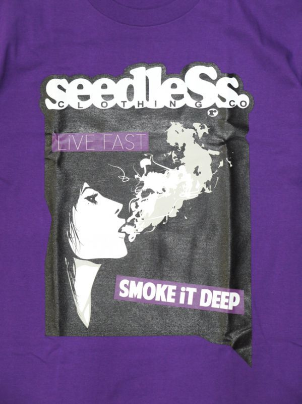 seedless  シードレス SiM  MAH デザイン Tシャツ LIVE FAST SMOKE DEEP パープル 紫 通販
