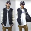 画像2: -40% off-[DxAxM]-KLASSiC LEATHER SLEEVE AWARD JACKET-BLACKxWHiTE- (2)