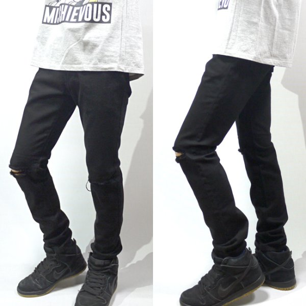 画像1: [NEO BLUE]-704 Black (Knee-Ripped) SUPER SKINNY KNEE-RIPPED- (1)