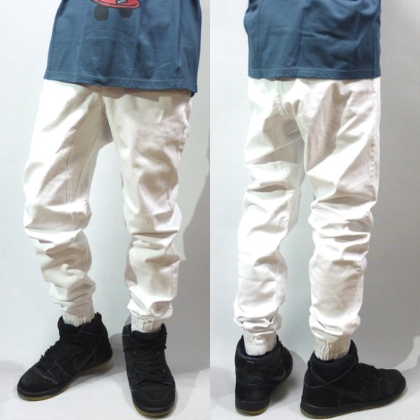 画像1: [NEO BLUE]-7612 White Twill Jogger Pants- (1)