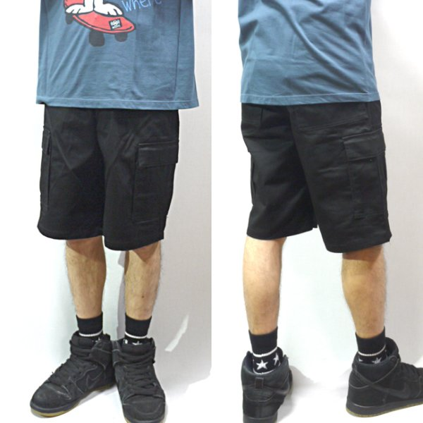 画像1: [NEO BLUE]-6801 Cargo Shorts-BLACK- (1)