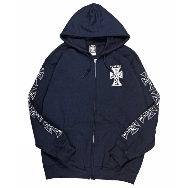 画像1: [Jay Adams]-Original Cross Logo Zip Hood-Navy- (1)