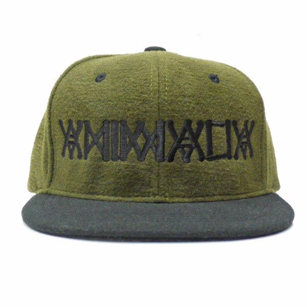 画像1: [ANIMALIA]-SNAPBACK CAP-WOOL BLK/OLIVE x BLK刺繍- (1)