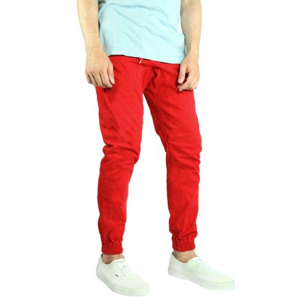 画像1: [NEO BLUE]-7619 RED Twill Jogger Pants- (1)