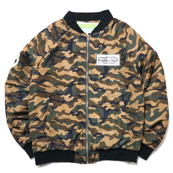 画像1: -40%off-[seedleSs]-ZIP UP QUILTED JKT-CAMO- (1)