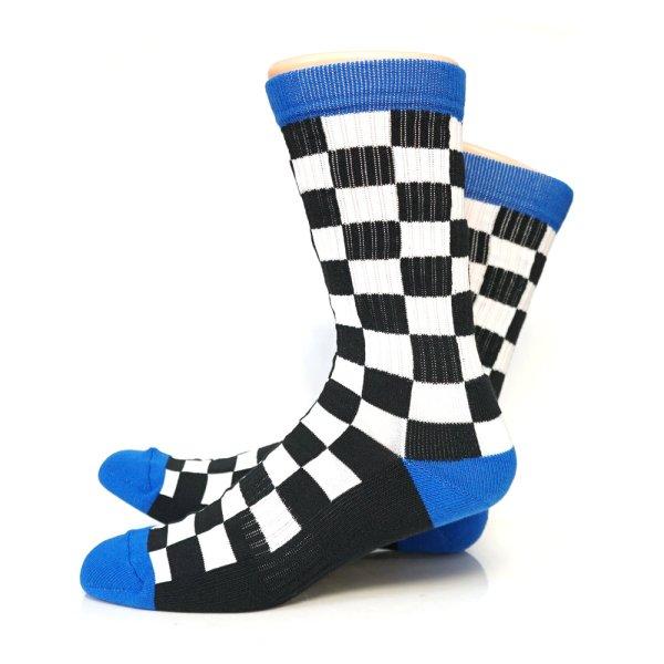 画像1: [SURF SKATE CAMP]-Checker Socks-BLACK- (1)