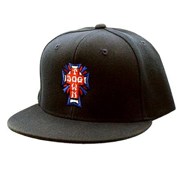 画像1: [DOG TOWN]-Cross Logo USA Snapback Cap-BLACK- (1)