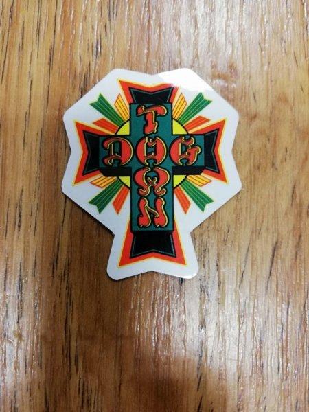 "画像1: [DOG TOWN]-Cross Logo STICKERS-Rasta-2""- (1)"