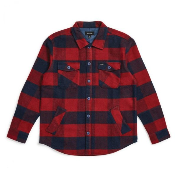 画像1: [BRIXTON]-DURHAM L/S FLANNEL-NAVY/RED- (1)