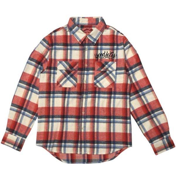 画像1: [seedleSs]-sd raised check nel shirt-RED/BEIGE- (1)