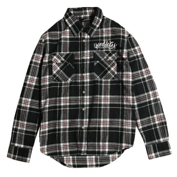 画像1: [seedleSs]-sd raised check nel shirt-BLACK/RED- (1)
