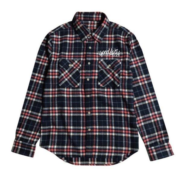 画像1: [seedleSs]-sd raised check nel shirt-NAVY/WHITE- (1)