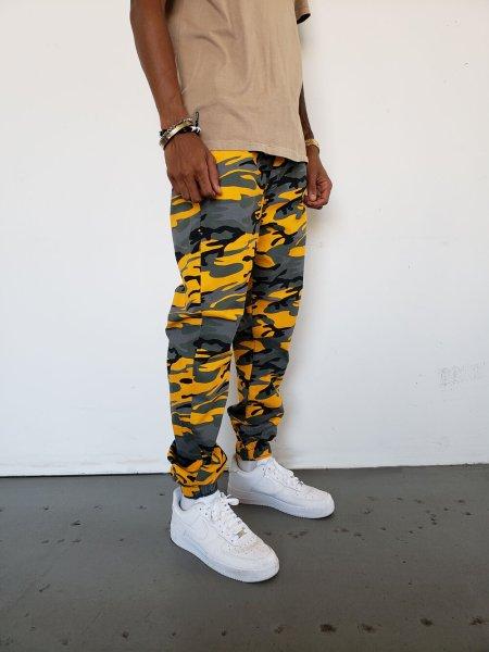 画像1: [NEOBLUE]-7635 Camo Yellow Jogger Pants- (1)