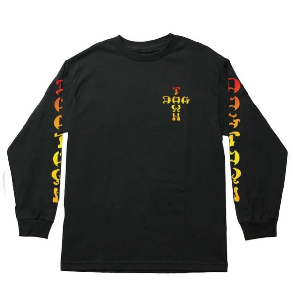 画像1: [DOGTOWN]-Cross Logo Color Fade L/S Tee-BLACK- (1)