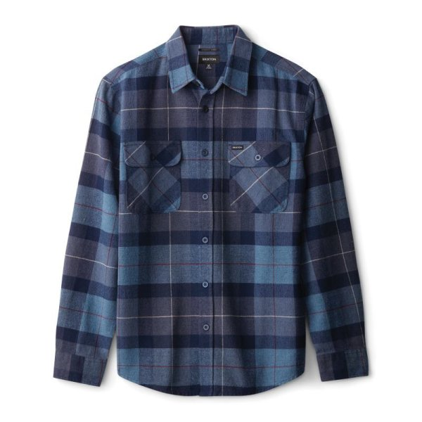 画像1: [BRIXTON]-BOWERY L/S FLANNEL-NAVY/CAROLINA BLUE- (1)