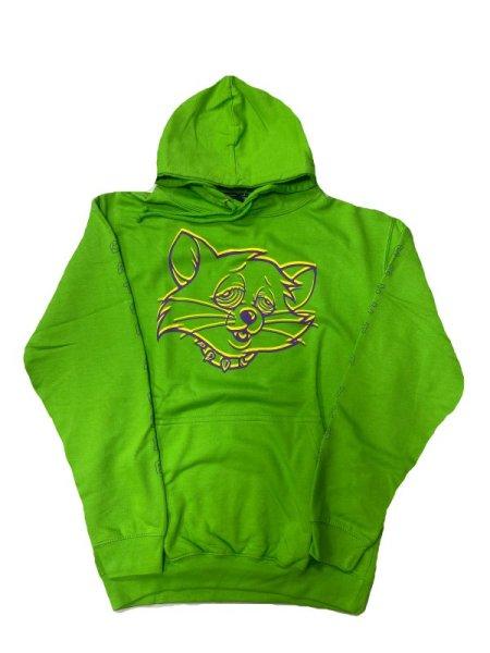 画像1: [DxAxM]-CAT P/O HOODIE-Alien Green- (1)