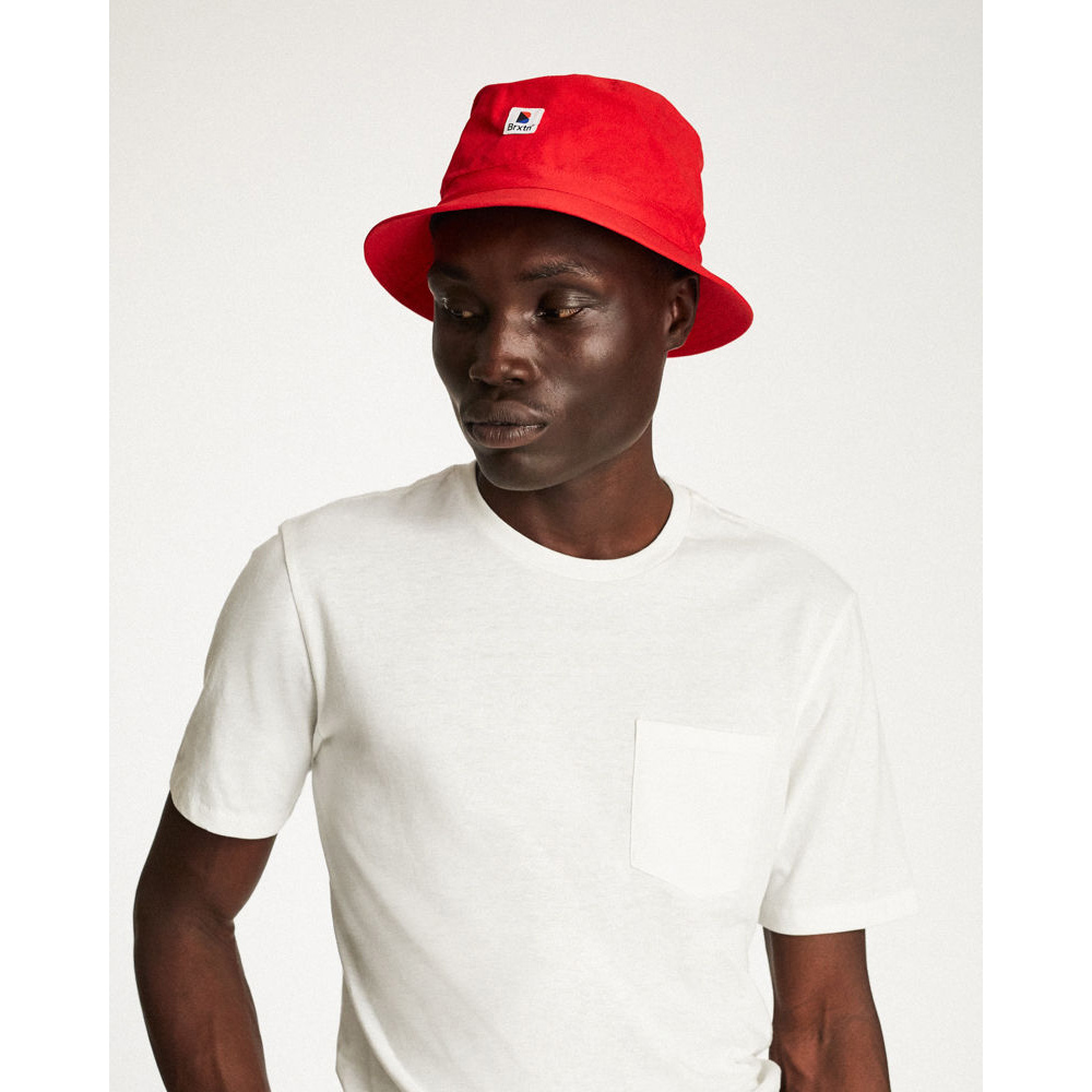 BRIXTON -STOWELL BUCKET HAT-RED-  f131be8a5e6